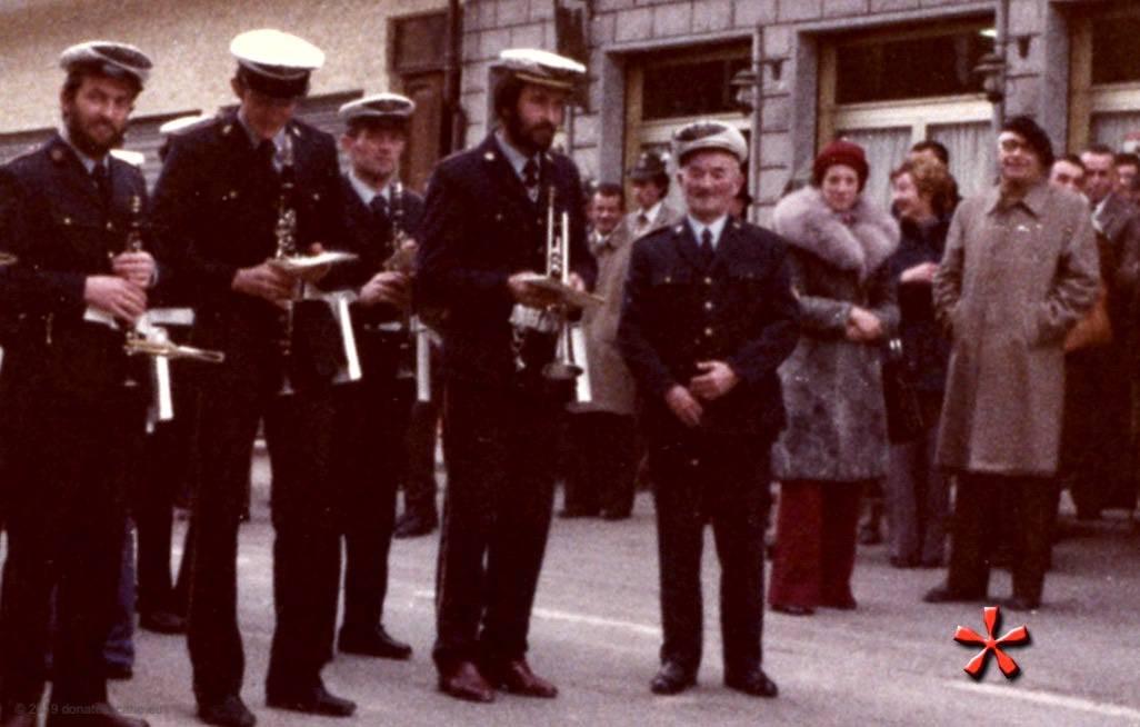 Arnaldo Virando, Presidente onorario del Corpo Bandistico Musicale di Viù, alla festa di Santa Cecilia (1976).